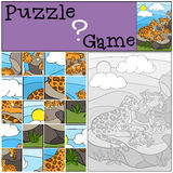 Education game: Puzzle. Mother jaguar with her little cute cubs. Stock Image