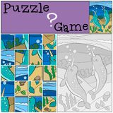 Education game: Puzzle. Two little cute narwhals smile. Education game: Puzzle. Two little cute narwhals swim underwater and smile Vector Illustration