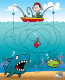 Education Game. Vector Illustration of Education - Fisherman Maze Game Stock Photography