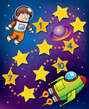 Education Game. Vector Illustration of Education Numbers game Astronaut to spaceship Stock Images