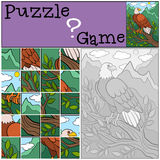 Education games for kids. Puzzle. Cute bald eagle smiles. Education games for kids. Puzzle. Cute bald eagle sits on the tree branch and smiles Royalty Free Stock Image