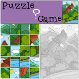 Education games for kids. Puzzle. Cute bald flying eagle smiles. Education games for kids. Puzzle. Cute bald eagle flies under the forest and smiles Royalty Free Stock Photography