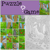 Education games for kids. Puzzle. Cute horse. Education games for kids. Puzzle. Cute horse on the forest Stock Photo