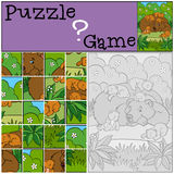 Education games for kids. Puzzle. Daddy bear with his little cute baby bears in the forest stock illustration