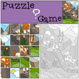 Education games for kids. Puzzle. Father goat with his baby. Education games for kids. Puzzle. Father goat with his little cute baby goat on the rocks Royalty Free Stock Photos