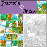 Education games for kids. Puzzle. Goat family. Royalty Free Stock Photos