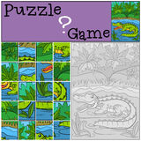 Education games for kids. Puzzle. Little cute alligator. Education games for kids. Puzzle. Little cute alligator stands in the water and smiles Stock Photography