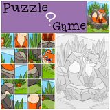 Education games for kids. Puzzle. Little cute baby fox looks at the fly. Stock Photos