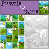 Education games for kids. Puzzle. Little cute baby goat. Education games for kids. Puzzle. Little cute baby goat stands on the field and smiles Stock Images