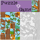 Education games for kids. Puzzle. Little cute baby tiger on the tree branch. Royalty Free Stock Photos