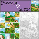 Education games for kids. Puzzle. Little cute foal. Education games for kids. Puzzle. Little cute foal on the field Stock Image