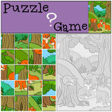 Education games for kids. Puzzle. Little cute foxes. Stock Image