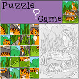 Education games for kids. Puzzle. Little cute tigers. Stock Photography
