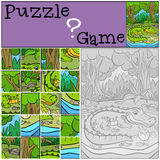 Education games for kids. Puzzle. Mother alligator with her little cute baby alligator in the egg vector illustration