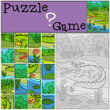 Education games for kids. Puzzle. Mother alligator with her little cute baby alligator in her back royalty free illustration