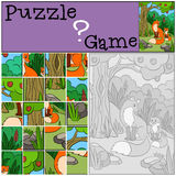 Education games for kids. Puzzle. Mother fox with her little cute baby. Royalty Free Stock Photography