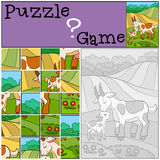 Education games for kids. Puzzle. Mother goat with her baby. Stock Photography