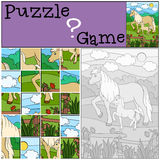 Education games for kids. Puzzle. Mother horse with foal. Education games for kids. Puzzle. Mother horse with her little cute foal Royalty Free Stock Images