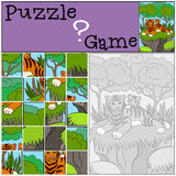 Education games for kids. Puzzle. Mother tiger with her little cute baby. Royalty Free Stock Photo