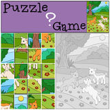 Education games for kids. Puzzle. Three little cute baby goats. Education games for kids. Puzzle. Three little cute baby goats play on the field Stock Photography