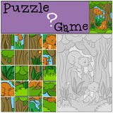 Education games for kids. Puzzle. Two little cute baby bears. Royalty Free Stock Photography
