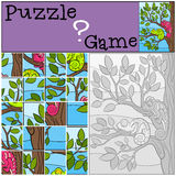 Education games for kids. Puzzle. Two little cute chameleons. Education games for kids. Puzzle. Two little cute chameleons sits on the tree branch Royalty Free Stock Photography