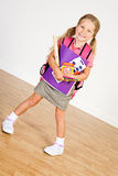 Education: Girl Overloaded With New School Supplies Stock Photos