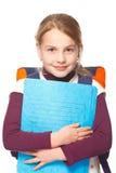 Education, girl schoolbag holding folders smiling Stock Image