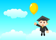 Education Go Further. Cartoon illustration of a boy holding a balloon in graduation toga floating on the sky Stock Photo