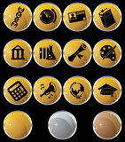 Education Gold Black Round Button Set. Set of 12 Education Buttons - Gold and Black Round Style Royalty Free Stock Photo