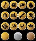 Education Gold Black Round Button Set Royalty Free Stock Photo