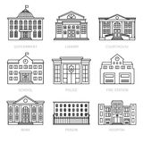 Education and government thin line buildings. Education and government buildings thin line icons. Museum and school, library and prison house vector signs Royalty Free Stock Images