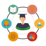 Education, graduation and academic trainning. Graphic design, vector illustration Royalty Free Stock Photo
