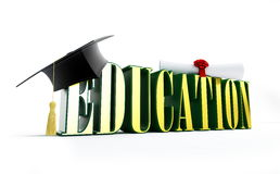 Education and graduation cap Royalty Free Stock Photo