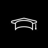 Education, graduation cap/hat icon simple vector illustration Stock Image
