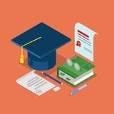 Education graduation diploma certificate flat isometric vector. Flat 3d isometric education graduation diploma certificate concept web infographics vector Royalty Free Stock Photos