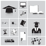 Education And Graduation Icon Set Stock Images