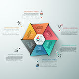 Education And Graduation Infographic With Hexagon Diagram Design Template. Modern paper style infographic options banner with hexagon divided into 6 options Royalty Free Illustration
