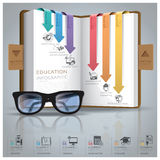 Education And Graduation Infographic With Line Arrow Bookmark Di. Agram Design Template Royalty Free Stock Photography