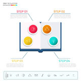 Education and graduation infographic. Paper book infographics template with icons and elements. Stock Images