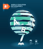 Education and graduation infographic world paper cut design Stock Image