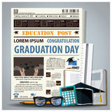 Education And Graduation Newspaper Lay Out With Pencil, Glasses, Stock Photo