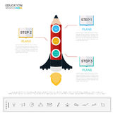 Education and graduation step to success infographics. Pencil rocket business startup infographics tempate with icons and elements. Can be used for workflow vector illustration