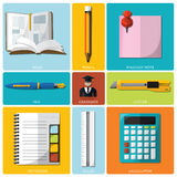 Education And Graduation Tools Flat Icon Set Stock Photos