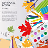 Education graphic template. Schoolboy workplace mock up for crea Royalty Free Stock Images