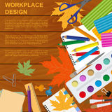 Education graphic template. Schoolboy workplace mock up for crea Royalty Free Stock Photography