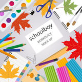 Education graphic template. Schoolboy workplace mock up for crea Stock Photos