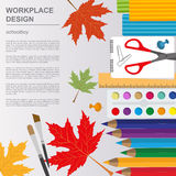 Education graphic template. Schoolboy workplace mock up for crea Royalty Free Stock Image