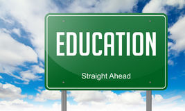 Education on Green Highway Signpost. Stock Photos