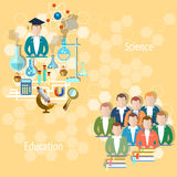 Education group of students in the classroom. Study and education concept: pupils teachers, school university, college, lecture lesson teaching exams science Royalty Free Stock Image